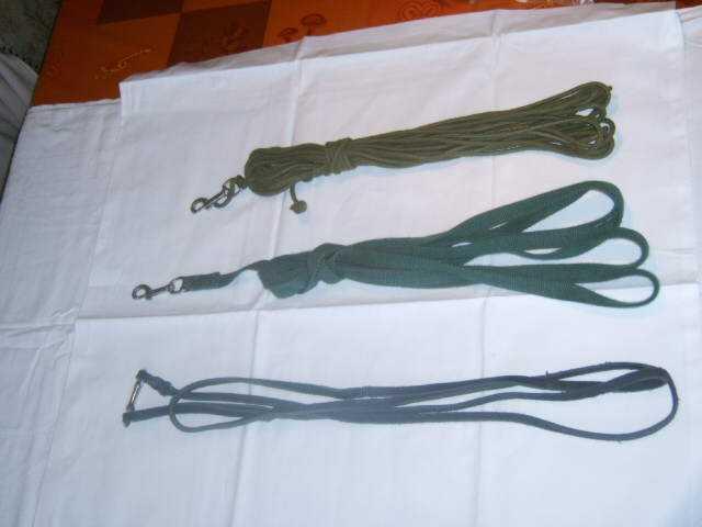 Verschiedene Arten und Längen von Leinen - Rundleder, Baumwolle, Fettleder